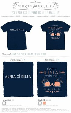 Oh with my love for elephants and my sorority!!!! Big Little Reveal   Spring   Alpha Xi Delta   AXD   Elephants   Adorable Design   shirtsforgreeks.com