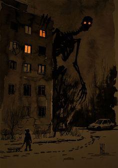 'Night walking' by Boris Groh Arte Horror, Horror Art, Dark Fantasy Art, Creepy Drawings, Art Drawings, Art Sinistre, Images Terrifiantes, Wow Art, Creepy Art