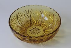 Striking design Anchor Hocking serving bowl in bold amber coloured glass - For sale at http://www.nothingbutvintage.com.au