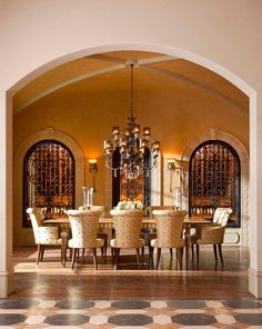 Best of the Best Mediterranean Dining Room Design Ideas. The Mediterranean style fits if you apply to the dining room to create an atmosphere of intimacy when you and your family enjoy eating toget… Fabric Dining Chairs, Dining Room Walls, Dining Room Design, Dining Room Furniture, Dining Decor, Mediterranean Kitchen, Mediterranean Style, Kitchen Decor, Kitchen Ideas