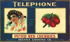 Vintage Can Labels - Telephone Red Cherries
