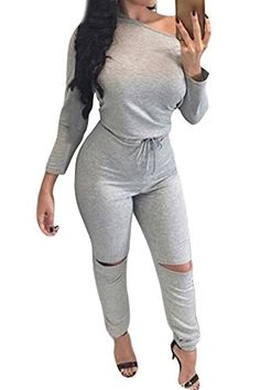 47d039866d9f Amazon.com  Fixmatti Lady One Shoulder Long Sleeve Drawstring Knee Hole Pant  Jumpsuit Romper  Clothing