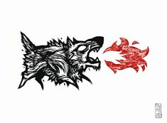 linocut/monotype caligo on rives heavyweight hand printed Fire Bite Hero Crafts, Wolf Illustration, Fire Tattoo, Shield Design, Sand Crafts, Fire Art, Arts And Crafts Supplies, Skull And Bones, Printmaking