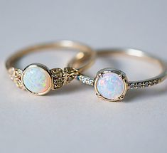 While we're on the subject, here are our two Australian Opal beauties side by side. Our Edwardian inspired ring with Yellow Australian…