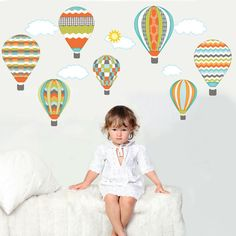 Hot Air Balloons and Clouds Wall Decals Reusable by WallDressedUp