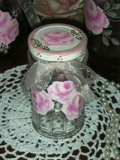 """CLEAR JAR WITH PINK ROSES 4.25x6.25"""" ej shabby chic cottage hand painted CJ4 OCT #Unbranded #FrenchCountry #cottage #shabby #french country #pink #roses"""