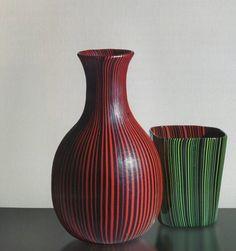 RIGATI E TESSUTI, Carlo Scarpa for Venini, 1938,1940 (can be considered Scarpa's original interpretation of the rod glass (i.e. filigree glass) and consists of multi-coloured glass rods)