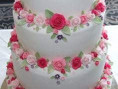 Pink rose wedding cake - between tiers by Alix s Cakes, via Flickr