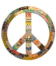 RECYCLED LICENSE PLATE PEACE SIGN by artist Aaron Foster - uses authentic plates from all 50 states