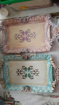 Embellish a plain tray with sculptured molding paste scrolls