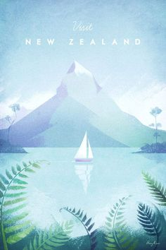 New Zealand Vintage Travel Poster | Art prints available from Travel Poster Co.