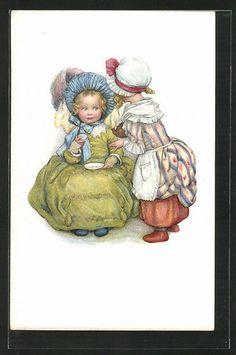 schöne Künstler-AK M. Munk Nr. 727: Mädchen beim Tee in Sammeln & Seltenes, Ansichtskarten, Motive | eBay