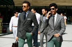 "Mixing jackets with non-matching pants is becoming fashionable for men. Italians refer to it as 'spezzato' which means ""broken in two."" Mixing patterns and fabrics is being seen on and off the runway in men's fashion. ~Stephanie W."