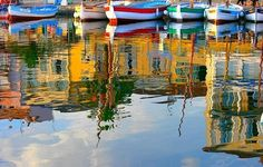 Reflections of the Port of Sanary in France