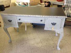 Annie Sloan Chalk Paint™ Graphite, Pure White and Paris Grey Chippendale desk Furniture Refinishing, Chalk Paint Furniture, Furniture Redo, Gray Chalk Paint, Chalk Painting, Painted Armoire, Red Dresser, White Sideboard, Grey Desk