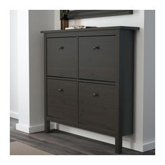 HEMNES Shoe cabinet with 4 compartments - black-brown - IKEA- Use for laptop storage in living room