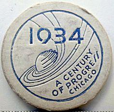 1934 Chicago World Fair Souvenir Cardboard Poker Chip