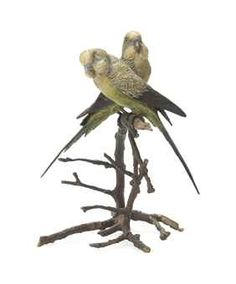 AN AUSTRIAN COLD-PAINTED BRONZE GROUP OF TWO BUDGERIGARS ON A PERCH CIRCA 1900, BERGMAN FOUNDRY, VIENNA Marked to the underside 'GESCHUTZT' and 'B' within an urn with impressed numbers 8¼ in. (21 cm.) high