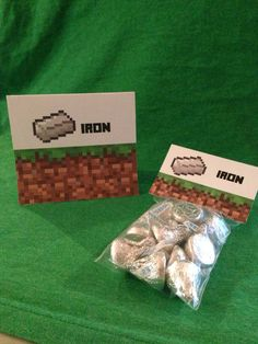 Minecraft Party Iron Printable Food Sign Tent and Iron Topper Labels for Birthday Party Favor Bags on Etsy, $2.00 Add some Hershey's kisses and you're done!! Easy breezy :) Minecraft Birthday Party Printables! Signs, tags, toppers, drink labels & more! Lots of Minecraft party supplies, too! by MinecraftPartySolved #mincraftparty #minecraftprintables #minecraftbirthday