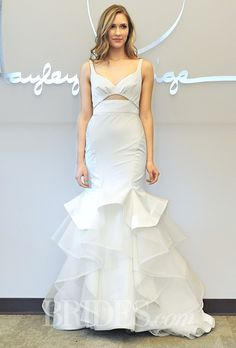 Hayley Paige - Spring 2015 - Style 6455 Montana Sleeveless Silk Satin Trumpet Wedding Dress with a Layered Skirt | Wedding Dresses Photos | Brides.com