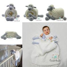 Cuddle and Play Sheep Blanket Crochet Pattern: Amigurumi Sheep Blanket, Bobble Blanket, Blanket Toy Crochet Blanket Patterns, Baby Blanket Crochet, Baby Patterns, Crochet Baby, Crochet Blankets, Practical Baby Shower Gifts, Baby Elefant, Crochet Sheep, Ravelry Crochet
