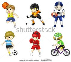 Cartoon male children athlete sportsman icon in action various type of sports such as soccer, American football, boxing, hockey, basketball and cycling, create by vector
