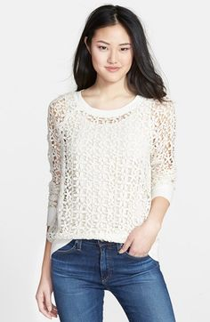 Free shipping and returns on Halogen® Lace Sweatshirt (Regular & Petite) at Nordstrom.com. Daisy-patterned crochet lace brings fresh charm to a relaxed, raglan-sleeve sweatshirt to layer over tanks and camis.