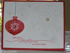 """Stampin Up """"Christmas Ornament Card Kit Red 6 Heard Heart Snow Rubber Stamp 