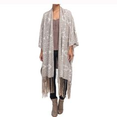 """Free People Kimono Cape Fringe 1 Size NEW One size fits most (Will work for plus size ladies) Open front cardigan features a dramatic drape. Linen cotton blend weave with metallic finish. Then metallic tassel fringe adorns hem. Vented knee length hem Length 47"""" Free People Jackets & Coats Capes"""