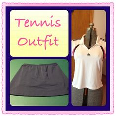 Adidas Tennis Top & Skirt Medium This is a white Adidas top with pink & navy accents in a size Medium. It has been worn twice and would make a great top for tennis or golf. The matching skirt is navy with compression shorts attached underneath. Excellent condition. No trades! Please ask if you have any questions or need measurements. Feel free to make an offer using the offer button! Adidas Tops