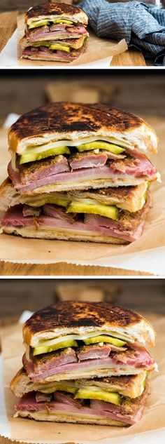 Cubano Sandwich is part of food_drink - Spice up your lunch with this super scrumptious Cubano Sandwich! Cubano Sandwich, Grilled Sandwich, Best Sandwich, Soup And Sandwich, Sandwich Recipes, Cuban Recipes, Gourmet Recipes, Cooking Recipes, Healthy Recipes
