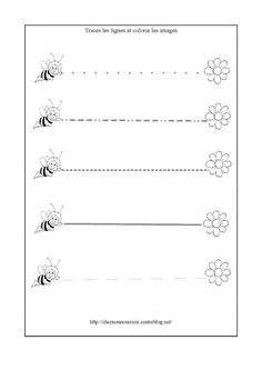 graphisme_abeille-page-001 Tracing Worksheets, Preschool Worksheets, Cycle 1, Bullet Journal, Activities, Minis, Thoughts, Preschool Math, Preschool Printables