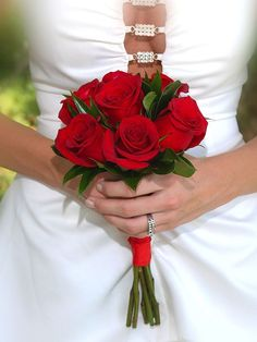 Small red rose bouquet for attendants - no green like photo though. Small red rose b Red Bridesmaid Bouquets, Prom Bouquet, Small Wedding Bouquets, Rose Bridal Bouquet, Red Bouquet Wedding, Red Rose Bouquet, Red Wedding Flowers, Prom Flowers, Small Bouquet