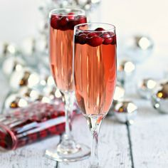 Sparkling Apple Cranberry Champagne Cocktail