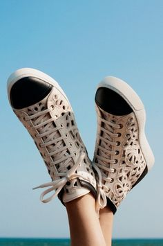 Chanel High-Top Laser-Cut Camellia Sneakers