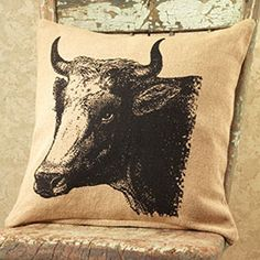 New French Country Primitive Farmhouse Chic Bull COW BURLAP PILLOW Shabby Decor