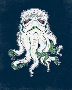 """Stormthulhu"" by Hillary White aka Stormtrooper Cthulhu Zombies, Octopus Art, Illustrations, Star Wars Art, Nerdy, Pop Culture, Cool Art, Concept Art, Geek Stuff"