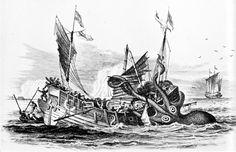 """Dénys de Montfort's """"Poulpe Colossal"""" attacks a merchant ship."""