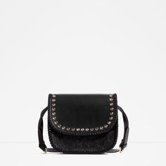 Image 1 of STUDDED EMBOSSED LEATHER CROSS BODY BAG from Zara