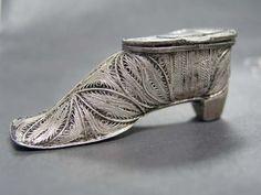 Antique silver filigree Match Safe figural shoe