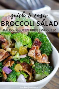 Looking for a crowd-pleasing salad for your next potluck? This paleo broccoli salad with bacon is delicious for lunch or dinner! Try this salty savory sweet and sour dish today. Gluten-free dairy-free paleo and friendly! Whole30 Dinner Recipes, Paleo Recipes Easy, Bacon Recipes, Paleo Dinner, Whole 30 Recipes, Lunch Recipes, Paleo Potluck, Salad Recipes, Potluck Salad