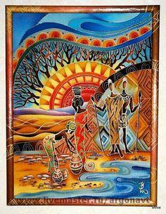 Купить или заказать Панно-батик 'Африканские мотивы' в интернет-магазине на Ярмарке Мастеров. Яркие картинки из африканской жизни с использованием африканских же фольклорных орнаментов. Образы собирательные, страна-неопределенная. В общем, Африка! Центральная композиция триптиха. Хотя триптих-понятие условное, просто панно объединены общей темой и колористикой . Панно в технике холодный батик. Красители закреплены. Панно оформлено в деревянную раму окрашенную в тон панно и покрытую ла... Mexican Paintings, African Art Paintings, Dot Painting, Silk Painting, Kunst Der Aborigines, Glass Painting Designs, Arte Tribal, Southwestern Art, Batik Art