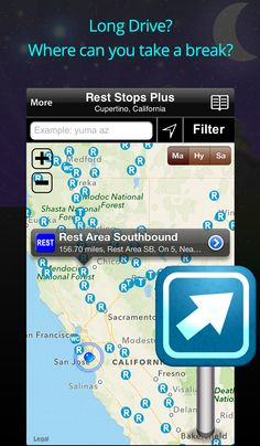"""""""Rest Stops Plus"""" app -- iPhone iPad Android  - AllStays -- for USA and Canada...........Over 4,000 welcome centers, turn outs, service plazas, scenic vistas and rest areas broken down by heading. A detail view lists each rest stops amenities like restrooms, picnic tables, vending machines, pet-friendly, RV dump, handicap accessible, security and even wi-fi!"""