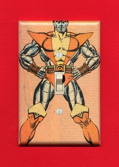 Peter Rasputin is armored up and ready to tackle your lights with his пенис. Quality-made vintage comic book lightswitch plate.