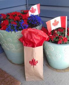 Canada - Crafts - Paper Bag Lanterns Paper Bag Lanterns, Canada Day, Beavers, Summer Fun, Cool Kids, Red And White, Planter Pots, Paper Crafts, Exterior