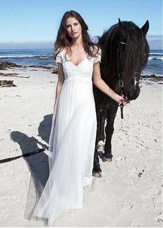Boho V Neck Empire Lace Chiffon Beach Wedding Dress