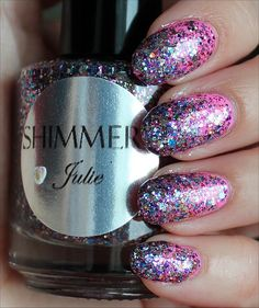 Shimmer Julie (gradient glitter) over China Glaze Bottoms Up! (Click through to see my in-depth review and more swatches!)