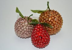Vintage Sequin Fruit Ornaments by EstherLucileDesigns on Etsy