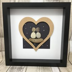 Couple pebble art, wall art, pebble picture, personalised, personalized, heart, wedding gift, anniversary gift, pebble people, love, Couple watching the snow falling at night sat on driftwood in a wooden heart. Made of responsibly sourced pebbles (from Devon and the Baltic Sea),