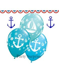 Anchor Balloons Nautical Sailboat Balloons latex by PartySurprise